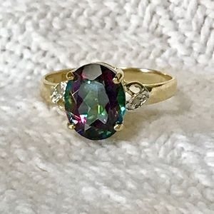 Jewelry - Solid 10k gold Mystic Topaz & Diamond Ring 3.4ct